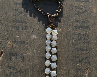 Opalized Crystal Tag Necklace