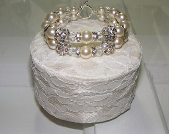 8mm Swarovski Pearl and Crystal Bridal or Bridesmaid Bracelet - Formal Prom Jewelry - Boxed for Gift Giving
