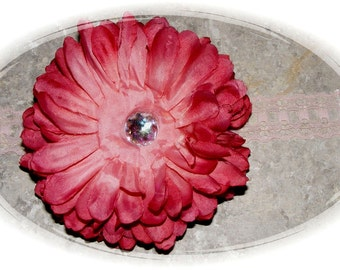"""Boutique Baby Hair Flower Alligator Clip - Clippie with Baby Bling - 5"""" - Headband not included"""