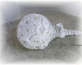 Wedding Bouquet - Shabby Chic Rolled Fabric Flower - Swarovski Crystal and Pearl Bridal Bouquet - Rolled Rose Bouquet - Rustic Bouquet