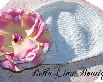 White Boutique Baby Beanie Hat and Detachable Flower Clip with BLING - Photography Prop