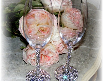 Swarovski Crystal Accented Unleaded Crystal Toasting Flute Set for the Bride and Groom