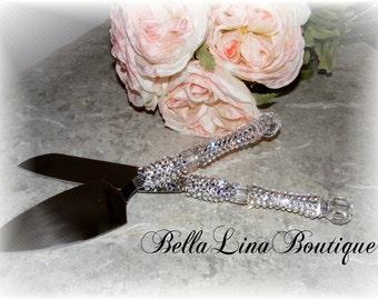 Wedding Cake Knife and Server Set in Swarovski crystals