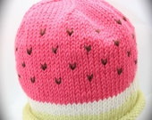 watermelon baby beanie in organic wool and cotton