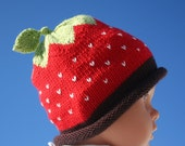 strawberry and chocolat hand knit baby hat 3 to 6 months