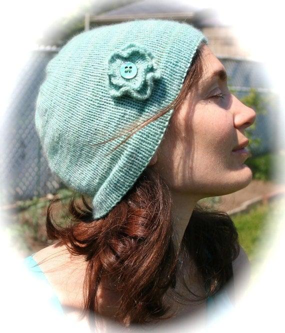 Hand knit mint cashmere hat