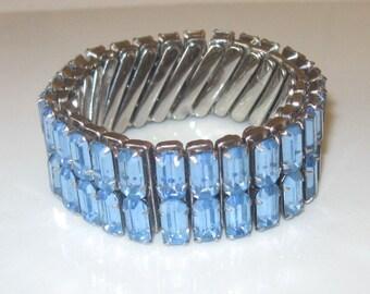 Vintage Baguette Blue Rhinestone Bracelet, 1960s
