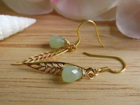 Sea Moss Green - Feather Leaf Earrings in Gold