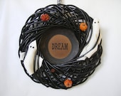 Halloween SALE  Wreath with Felt Ghosts and Pumpkins DREAM