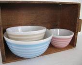 Vintage Pyrex Bowls Rainbow Stripe set of 3 Pink (rare) Tan and Blue