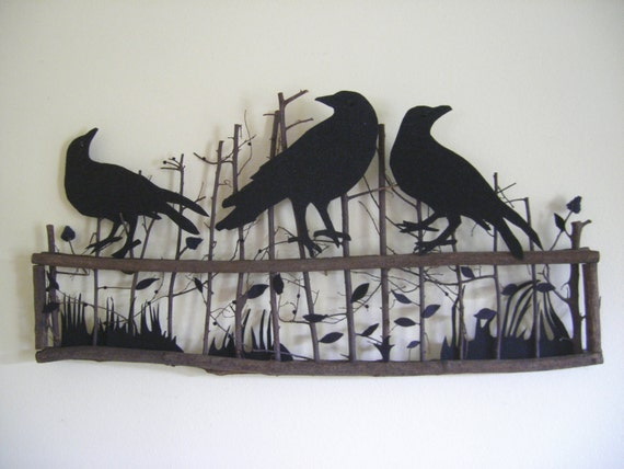 Crows on a Fence Wall or Door Decor