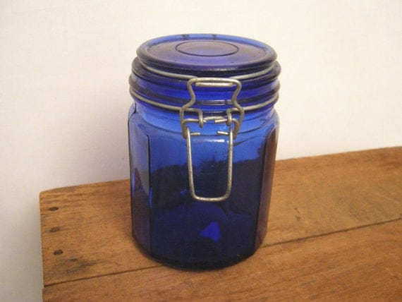 Vintage Cobalt Blue Mason Jar With Metal Glass Top
