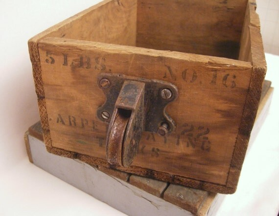Wood box with Antique Pulley Handle  printing on all sides Rustic & Industrial