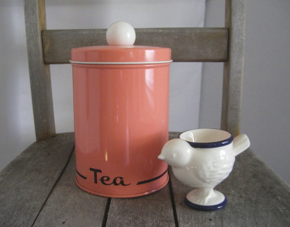 Retro pink canister with white ball top by JK Industries vintage kitchen