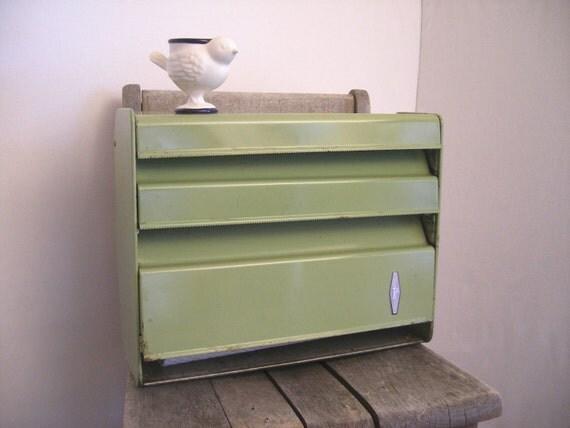 Industrial kitchen storage green metal