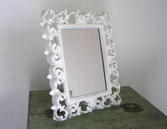 White Metal Frame with mirror Syroco style