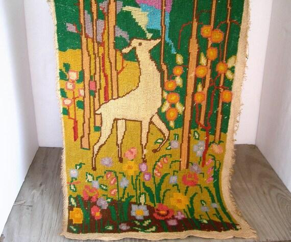 Antique hand-woven Wall Hanging..........deer .......woodland