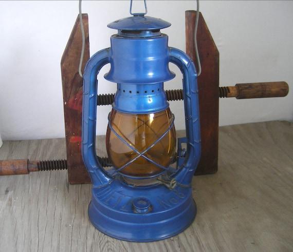 Vintage railroad lantern blue & amber globe Dietz Air Pilot No 8 .........as is.......