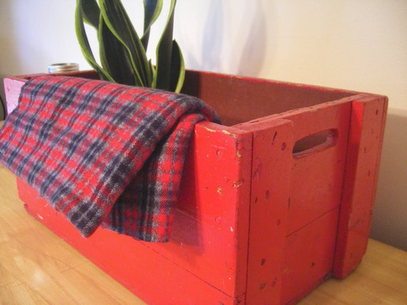 Vintage farmhouse red wood box .........storage