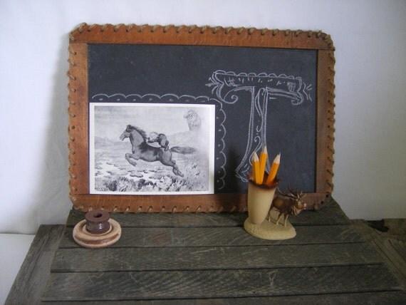 Vintage slate chalkboard        wood frame       lanyard trim       school chalkboard