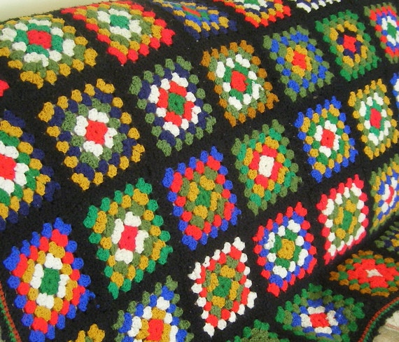 Vintage granny square afghan... black .....multi -colored....classic
