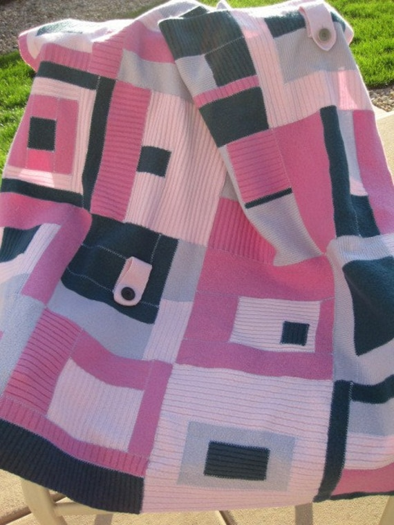 Upcycled REcycled baby Soft WOOL blankey blanket Lilac-berry 39 x 39 throw
