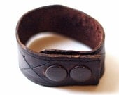 Brown Leather Hand Carved Diamond Cuff