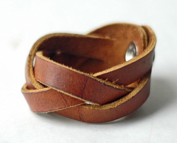 Rustic Brown Leather Mystery Braid Bracelet