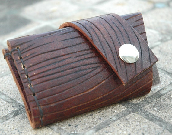 Handcarved Woodgrain Leather Credit Card Wallet