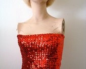 1970s Saks Sequin Sweater Cherry Red Tube Top / star spangled