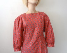 1980s Floral Print Cotton Blouse / Vintage Shirt