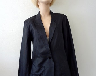 1980s Silk Jacket / New Wave Black Blazer / Vintage Fashion