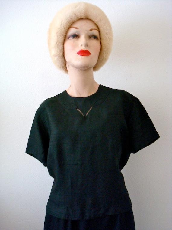 1950s Black Silk Button-Back Blouse
