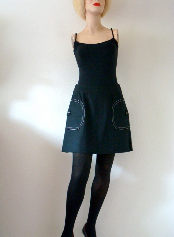 1960s Mini Skirt / Black Cotton A-line Scooter Skirt