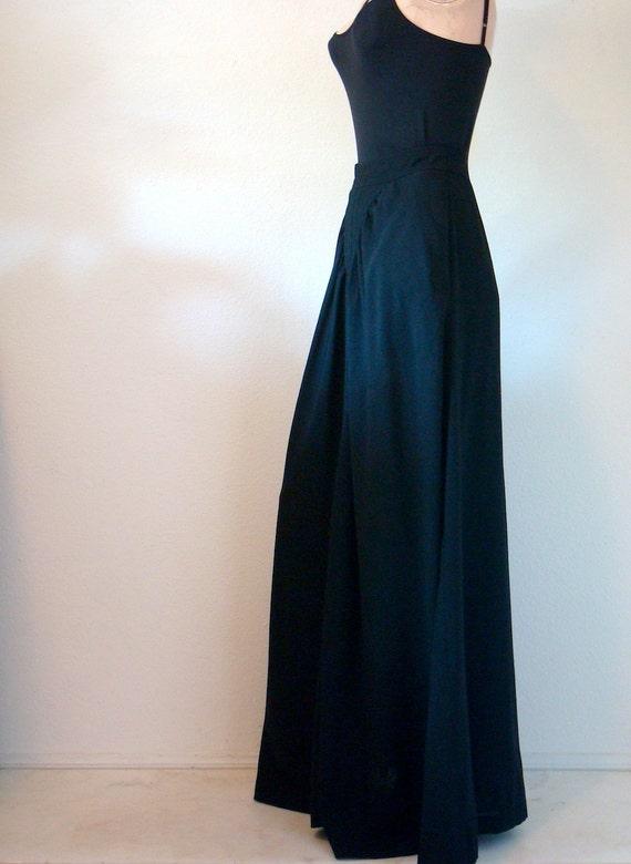 1970s Black A-Line Maxi Skirt / victorian child