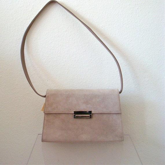 1970s Purse / Suede & Leather Handbag / NOS