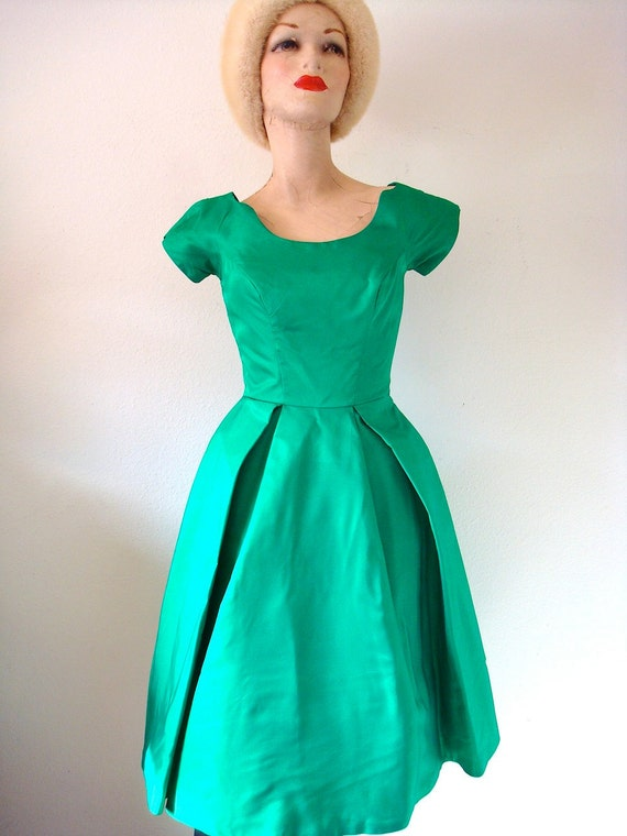 1950s Party Dress / Taffeta Gown with Lily Pad Bustle / froggy went a courtin'