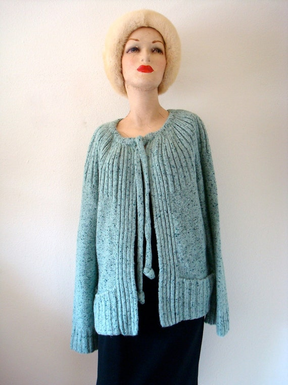 1970s sweater / cardigan with tie neck / robin's egg blue knit top