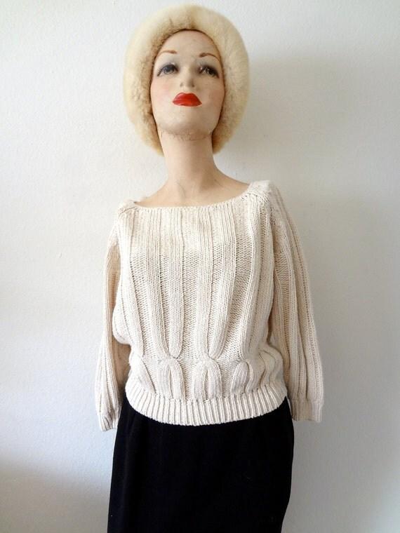 1980s Cotton & Silk Sweater / Vintage Linen Colored Knit Top
