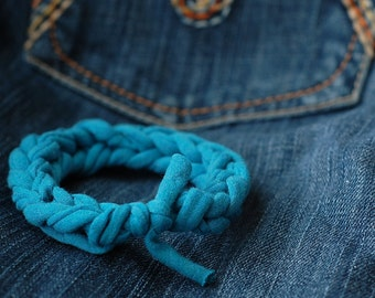 Blue upcycled t-shirt bracelet