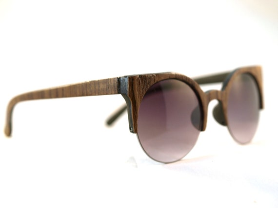 Handcrafted Wooden Faced Sunglasses Round Cateye Womens Style // TEAK // no. 1212