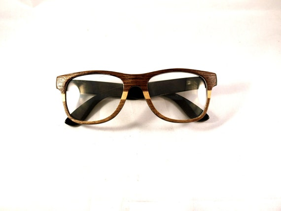 Free Shipping Handcrafted Wooden Glasses Three Tone Veneer Eyewear // Wenge, Poplar and Oak and  // no. 1095
