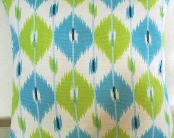 Turquoise Lime Ikat Decorative Pillow Covers 18inch