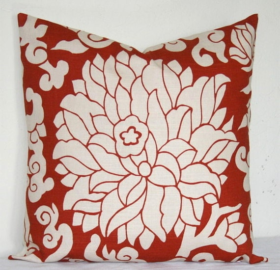 Decorative Pillow Rust : Rust White Decorative Pillow Cover 18 inch