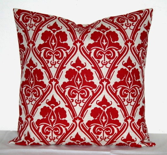 Decorative Pillows Accent Pillows Throw Pillows Cushion Covers Red Damask Set of 2 18x18 inch