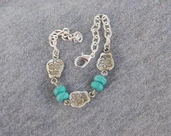 Turquoise sugar skull bracelet