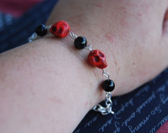 Red and black turquoise day of the dead sugar skull bracelet