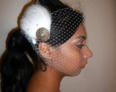 BLANCA -  White Feather Fascinator Hair Clip or Headband With A Gold Motiff and Swarovski Crystals, Weddings, Bridesmaids, Burlesque