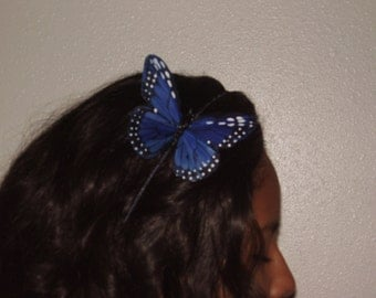 MONARCH - Dark Blue Feather Butterfly Headband, Childrens Headband, For Her, Bridesmaids, Flower Girl, Easter