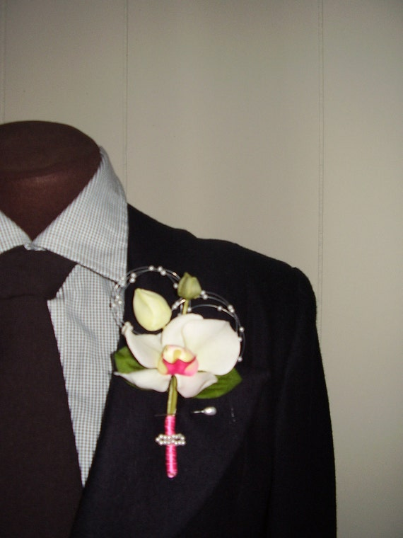 ORCHID  - Flower Boutonniere accented By 2 Small Pearls Circle Strands, Spring /Summer Weddings, For Him, Groomsmen, And Handmade